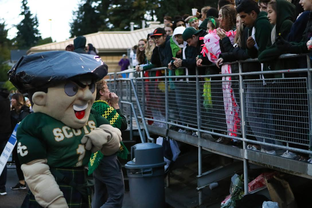Otis hypes up fans at a Shorecrest Football game.