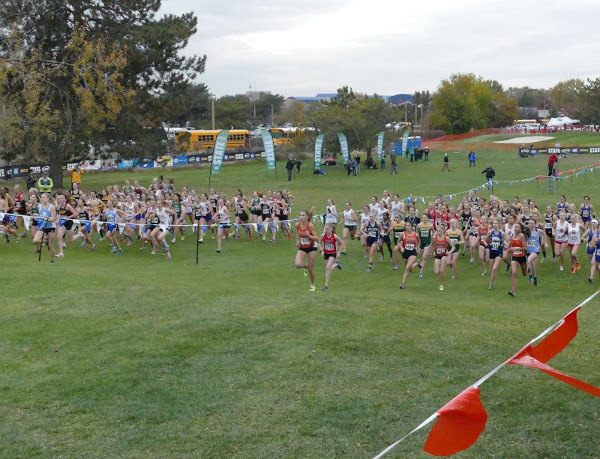 Shorecrest girls race off of the start line at the 3A Washington State Championships meet.