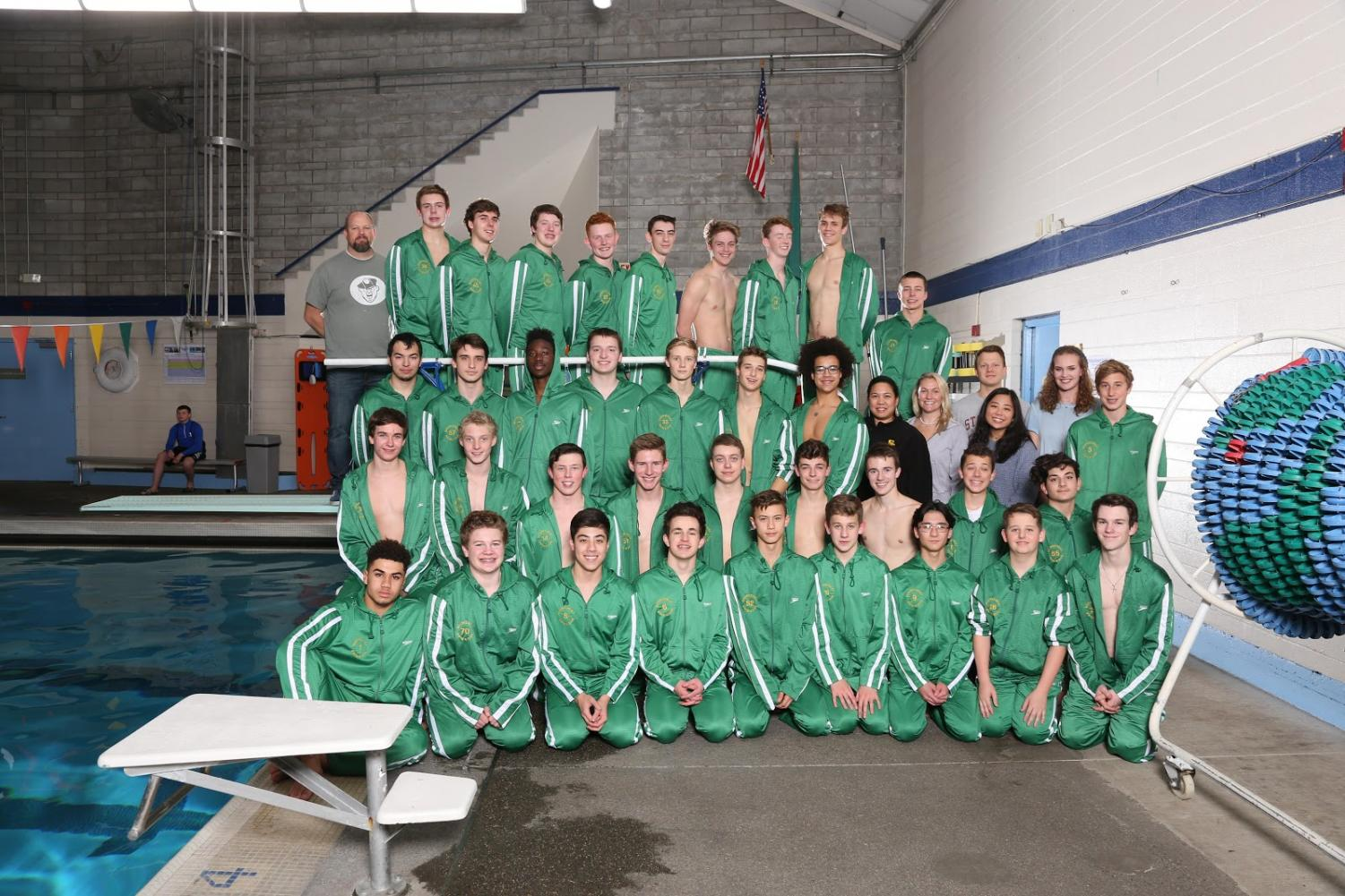 The Shorecrest Boy's Swim and Dive team poses for their team photo, after an unusually successful year.