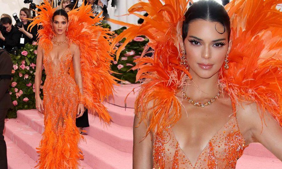 Kendall+Jenner+rocks+a+blazing+orange+piece.+