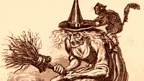 An illustration of a witch, a figure that was commonly perceived as evil by early Christians in Europe. Due to this belief, witches inspired the iconic Halloween figure.